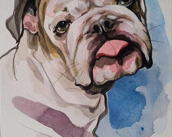 6x9 Watercolor Custom Pet Painting- Dog, Cat, Rabbit, etc!