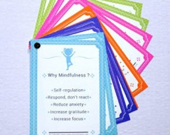 Bold and Bright Mindfulness Flashcards for children, teachers, parents, teens