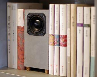Mini Concrete Speakers, Set of Two Passive Speakers, Desktop Speakers