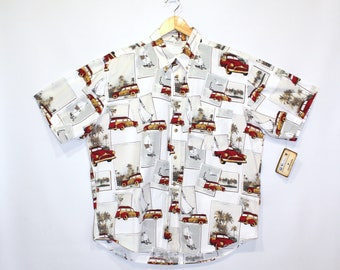 Vintage Clothing • 1970's Menswear • Casual Button Up Shirt •Sailboats and Vintage Woody Cars  •