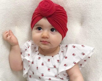 Top Knot Red Turban Hat