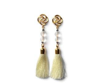 Tassel earrings, Long white tassel earrings, Statement earrings, Tassel trend, Elegant earrings, Party earrings