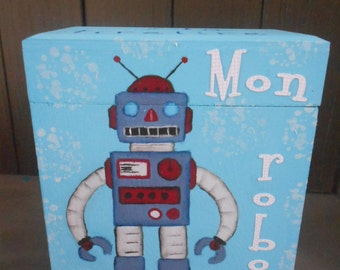 """Piggy bank for boy """"robot"""" blue turquoise"""