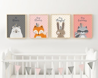 Set of 4, Woodlands Nursery, Girl nursery set, Forest Animal Set, Nursery Art, Forest Friends, Nursery Forest Decor, Fox print, Bear, Giclee
