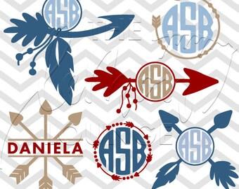 Arrow Monogram svg, Tribal arrow svg, arrow svg, tribal arrows svg, cut file, digital cutting file, hand drawn svg, commercial use OK,
