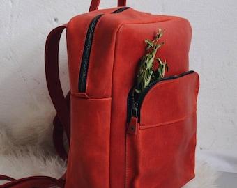 Leather backpack, women leather backpack, women backpack, travel backpack bag, school backpack, red backpack, backpack for women, rucksack