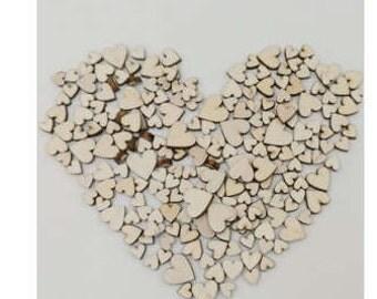 Wooden Heart Confetti 100 count