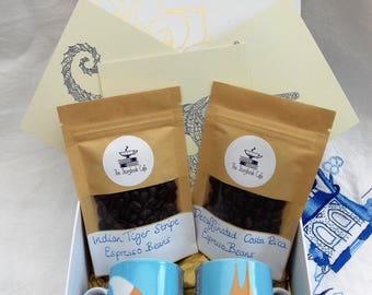 Espresso Cups and Whole Espresso Coffee Beans Gift Box with Adult Colouring Postcards