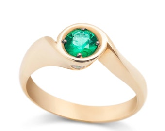 Gold Emerald Ring with Diamonds Vintage 14K Ring Unique Engagement Ring Diamond Ring Gold Ring with Stone Anniversary Gift for Women