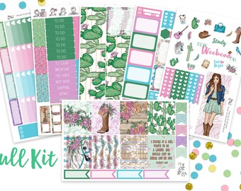 Calamity Jane- Vertical WEEKLY KIT- planner stickers- Texas, Cowboy, Cowgirl, Western