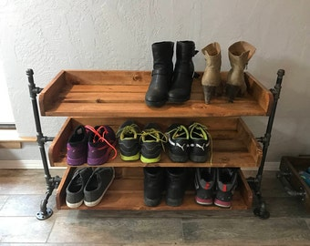 Industrial Pipe Shoe Rack, Shoe Organizer, Entryway Shoe Rack, Rustic Wood Shoe Rack Shoe Shelf