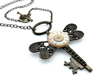 Rustic Skeleton Key Pendant - Gothic Key Necklace - Steampunk Key Necklace - Clockworks Cross Pendant with toggle clasp