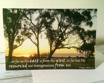 Scripture Sympathy Card Set x2, Australian Bush Sunset Photo Art, Psalm 103:11-12, Christian Faith Quote, Encouraging Bible Verse Note Card