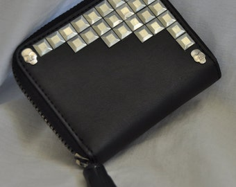 Black Faux Leather Silver Studded Coin Purse