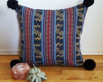 Pom Pom Pillow Cover In Balinese Tribal Fabric