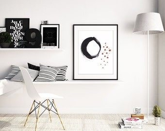 Large minimalist black white Abstract painting, PRINTABLE wall art, large pink abstract painting gift idea for her, INSTANT DOWNLOAD art 15