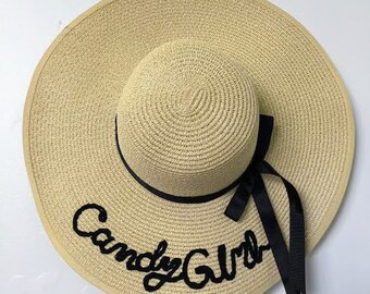 "Embroidered Floppy Beach Hat / ""Candy Girl"" Floppy Straw Hat / Sun Hat"