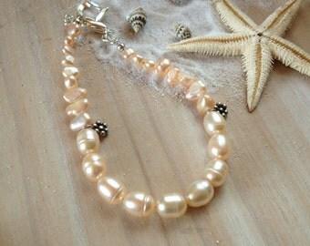 Peach Freshwater Pearl Bracelet, Seed Pearl Bracelet, Baroque Pearl Bracelet, Thai Silver Charm Bracelet, Pearl Jewellery, June Birthstone