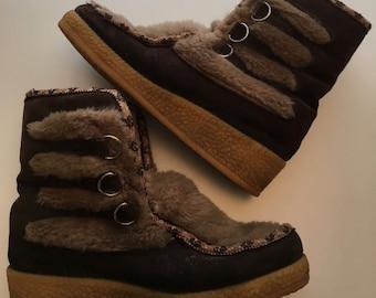 Vintage Yodelers Mukluk Faux Fur Suede Leather Winter Snow Boots SZ8 Apres Ski