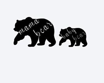 Mama Bear and Baby Bear Decal