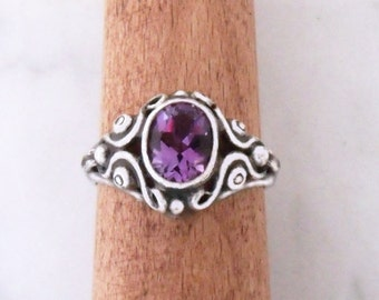 "Silver ring with Amethyst ""Mask ornament"""