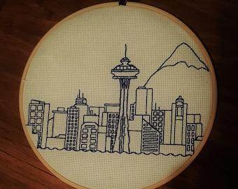 Seattle Skyline Cross Stitch