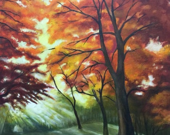 Original Oil Painting - Colorful Walk In The Woods