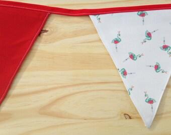 Flamingo Print Red Fabric Bunting - 2.5m