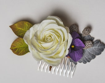 White Garden Rose Hair rose hair comb | etsy