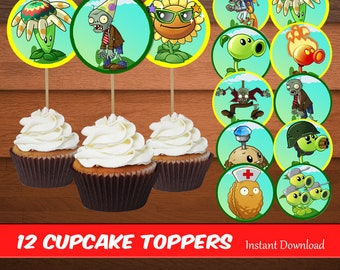 Plants VS Zombies Cupcake Toppers-Printables Zombies Toppers-Plants Favors-Digital Plants Zombies Cupcake Toppers-Party Decoration-DIGITAL