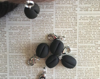 Stitch Markers - Coffee Beans - Polymer Clay - Handmade