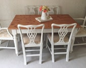 Shabby Chic Farmhouse Table And ChairsNOW SOLD ! Dining Table And 6 Chairs Country Cottage Farmhouse Dining Set French Table And Chairs