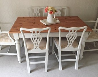 Shabby Chic Farmhouse Table And Chairs,NOW SOLD ! Dining Table And 6 Chairs, Country Cottage Farmhouse Dining Set, French Table And Chairs
