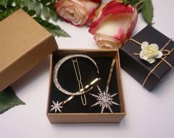 Moon and star hair pins/ crescent moon & star hair bobby pins/ moon hair pins/ star hair pins/ hair barrette celestial hair accessory