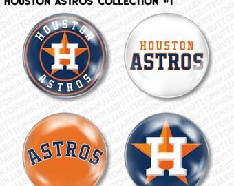 Set of 4 Mini Pins / Buttons - HOUSTON ASTROS texas tx stros baseball mlb little league (choose your style!)