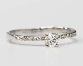 Delicate engagement ring, diamond ring, engagement ring, classic engagement ring, 14k solid gold ring, delicate diamond ring