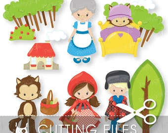 Little Red riding hood cutting files, svg, dxf, pdf, eps included -  cutting files for cricut and cameo - Cutting Files SVG - CT879