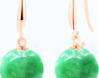 Natural 10mm Green Jade Jadeite Rose Gold Plated Dangle Earrings