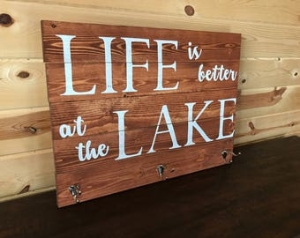 Life is Better at the Lake Wood Sign with Towel Hooks Handmade Wood Decor Lake Life
