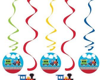Train Birthday Party Decor/ Train Birthday Dangling Decor/ Train Partyware/ Train Party Supplies/ Train Decor