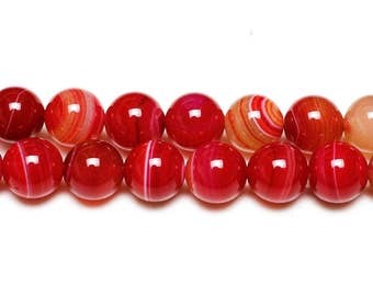 8 mm red agate beads 8 mm agate full strand red striped agate striped beads red beads agate stones beads agate gemstones beads round balls