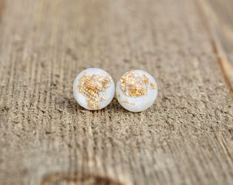 White Gold Leaf Earrings