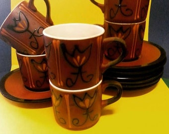 Vintage Japanese Stoneware Cups and Saucers (6)