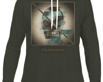Men's Hooded Long-sleeved T-shirt Graphic (Glitch Strike) - Stringtheorist Official Merchandise