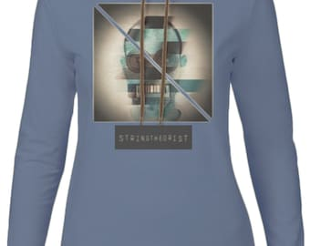 Women's Hooded Long-sleeved T-shirt Graphic (Glitch Strike) - Stringtheorist Official Merchandise