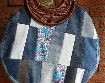 Pachwork Jeans upcycling round bag
