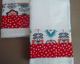 2 Red Floral Dish Towels