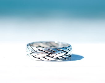 Sterling Silver 925 ~ Ring ~ Jewelry ~ Thin Band ~ Braided ~ Basic ~ Casual ~ Everyday ~ Bohemian ~ Hippie ~  Boho ~ Maresia MR017