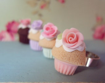 Rose Cupcake ring, adjustable ring with Cute Pastel Cupcake, Miniature Food