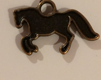 10 Antiqued Bronze Galloping Horse Stallion Pendant Charms